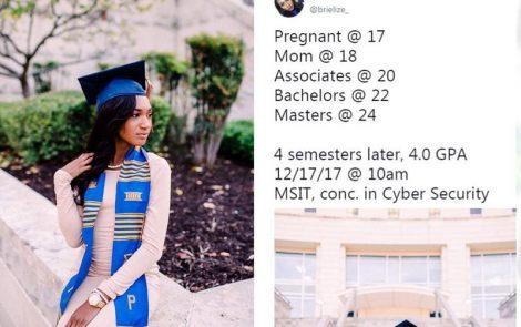 Maman à l'âge de 17 ans, elle réussit à avoir son Master à 24 ans